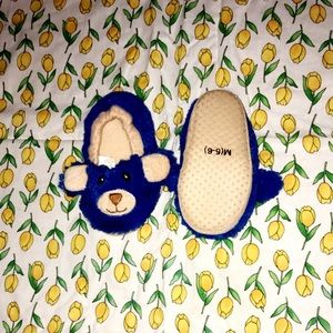 BRAND NEW BLUE TEDDY BEAR SLIPPERS TODDLER 5/6